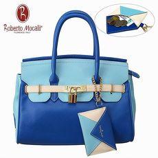義大利Roberto Mocali藍色鎖扣手提肩背女包(送零錢包) RM-58106