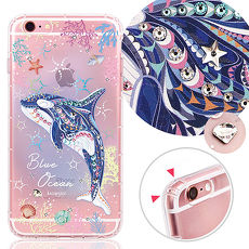 KnowStar APPLE iPhone 6s Plus 5.5吋 奧地利水晶彩繪防摔氣墊手機鑽殼-藍色海洋