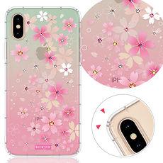 KnowStar APPLE iPhone XS Max 6.5吋 奧地利彩鑽防摔手機殼-櫻花町