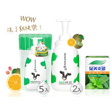 【潤波】牛奶泡泡沐浴慕絲850mlx2瓶+700ml補充包x5包-全脂牛奶制菌(綠色)+【金美克能】洗髮粉絲比3g x10包/盒