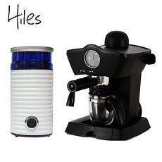 【Hiles】尊爵午茶組合:皇家義式咖啡機+電動磨豆機(HE-303+HE-386W2)