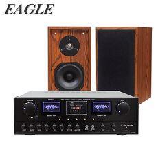 【EAGLE】皇家KTV劇院組合(卡拉OK擴大機 藍芽版(A-320)+五吋頂級劇院喇叭(EL-51S))送原廠動圈麥克風二支(EDM-F1)EL-51S-原木色