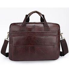 手提包瘋馬皮公事包-純色牛皮電腦肩背男包包3色73lo9【米蘭精品】