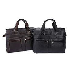 手提包瘋馬皮公事包-休閒牛皮肩背電腦男包包2色73lo17【米蘭精品】