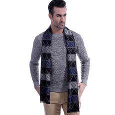 羊毛圍巾-商務時尚三角條紋秋冬防寒男女披肩3色73ts1【米蘭精品】