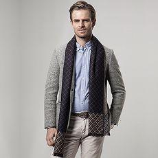 圍巾羊毛圍脖-格紋休閒秋冬保暖男女披肩5色73ph1【米蘭精品】