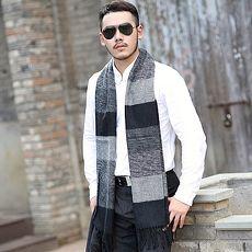 圍巾羊毛圍脖-拼色橫條格紋流蘇男女披肩6色73ph12【米蘭精品】