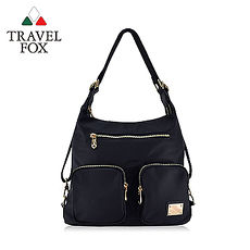 【TRAVEL FOX 旅狐】多層口袋肩背後背包兩用包 TB698-01 黑色