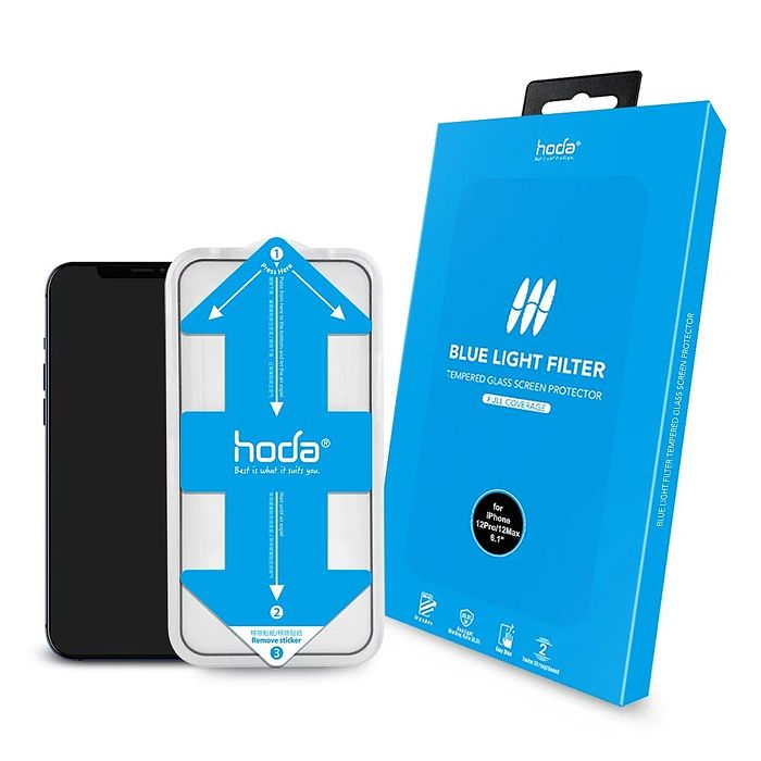HODA【iPhone 12 系列】0.33mm 抗藍光滿版玻璃保護貼 6.1吋