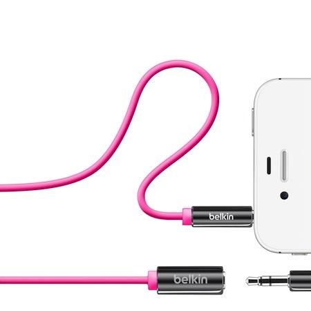 Belkin 3.5mm 公母 音源延長線 iPhone iPod 粉紅色