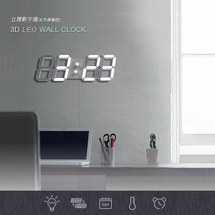 3D LED數字鐘 牆面立體掛鐘 電子時鐘(USB插電大款)