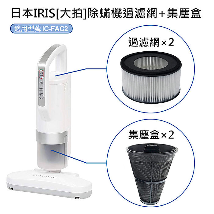 日本IRIS IC-FAC2除蟎機(大拍) 配件組(過濾網FH2-2入+集塵盒FS2-2入)(2011)