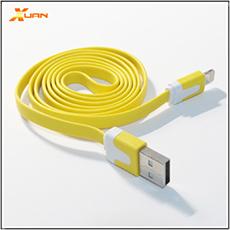 APPLE通用型Lightning 8pin 彩色麵條型傳輸充電扁線(黃色)