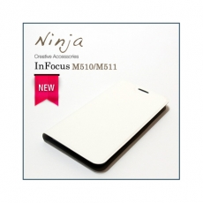 【東京御用Ninja】新款InFocus M510/M511通用型經典瘋馬紋保護皮套(白色)