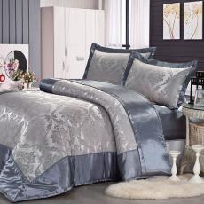 《GALATEA》沙定緹花-灰藍。雙人加大絲緞四件式床包鋪棉兩用被組
