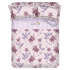 【Arnold Palmer雨傘牌】陶醉粉紫-60紗精梳純棉床包被套雙人加大四件組