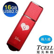 TCELL 冠元-USB2.0 16GB 撲克碟(紅心Q)兩入組