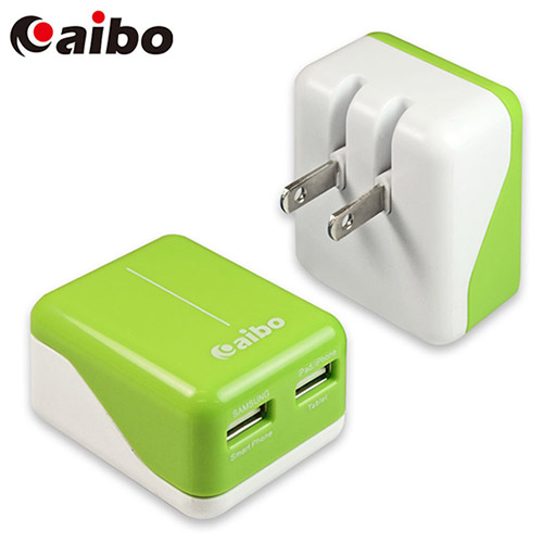 aibo AC 轉 USB 2PORT 方塊充電器 3100mA - 白綠