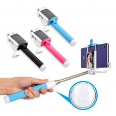 【免藍芽配對】線控七段式伸縮折疊迷你手機自拍架+自拍鏡 (不適用HTC, ASUS華碩手機)