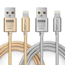 Golf USB 2.0 轉  Apple 8Pin 太空鋁系列網狀編織充電傳輸線3M