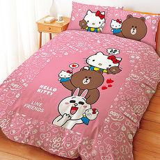 【享夢城堡】雙人床包涼被組-HELLO KITTYxLINE 手偶同樂會系列