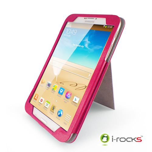 i-rocks Samsung Galaxy Tab3 8.0皮革保護套(粉)