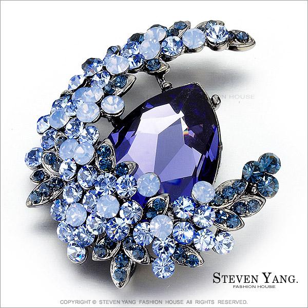 STEVEN YANG【KCD0016】正白K飾「迷幻月光」別針 採用施華洛世奇水晶 紫色款*單個價格*