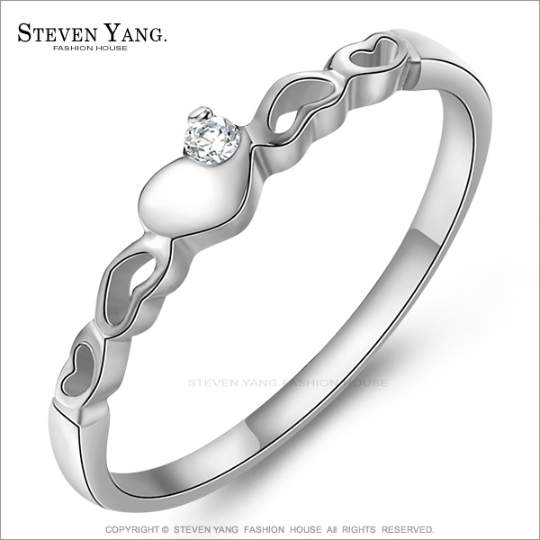 STEVEN YANG【KA651】西德鋼飾「心心相連」戒指/尾戒 愛心 浪漫甜美風 銀色款*單個價格*(銀色美圍#6)