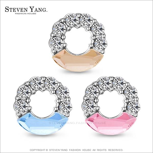 STEVEN YANG【KG595】正白K飾「耀眼甜心」耳針式耳環 採施華洛世奇水晶*一對價格*(白色)