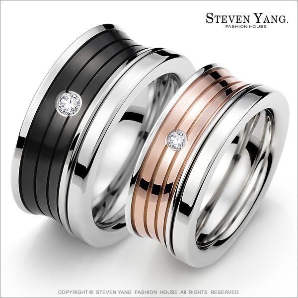STEVEN YANG【KA618A】混搭雙環 珠寶白鋼「相伴一生」情人對戒指 專櫃品質*單個價格*送刻字 情人節禮A玫銀#3