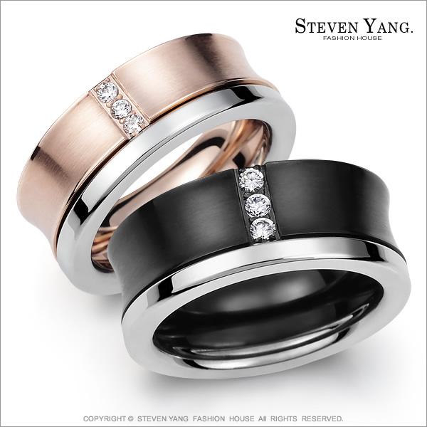 STEVEN YANG【KA614A】混搭雙環 珠寶白鋼「情定三生」情人對戒指 專櫃品質 *單個價格* 情人節好禮