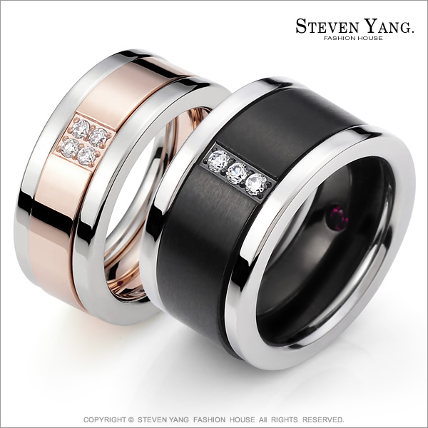 STEVEN YANG【KA610B】混搭三環 珠寶白鋼「生世相愛」情人對戒指 專櫃品質 *單個價格* 情人節好禮A玫銀#7