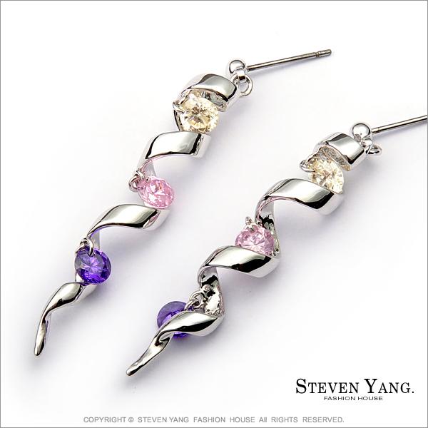 STEVEN YANG【KG539】正白K飾「螺旋彩虹」耳針式耳環 時尚名媛*一對價格*