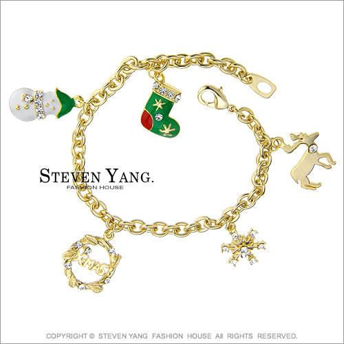 STEVEN YANG【KB182】正白K飾「金色耶誕」手鍊 雪人/聖誕襪/雪花 聖誕約會吸睛必敗
