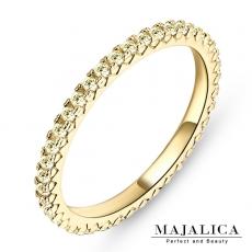 Majalica【KPR4003】925純銀飾「耀眼」純銀戒指 線戒 混搭戒 不易掉鑽 B黃鋯*單個價格* 附保證卡B黃鋯#6