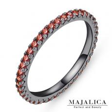 Majalica【KPR4004】925純銀飾「獨特」純銀戒指 線戒 混搭戒 不易掉鑽 E紅鋯*單個價格* 附保證卡