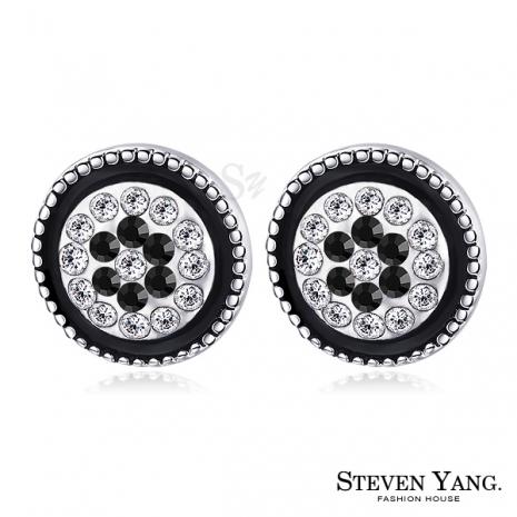 STEVEN YANG【KG4091】正白K飾「貴族風華」耳針式耳環 採施華洛世奇水晶*一對價格*黑水晶