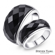 STEVEN YANG【KA4041】珠寶白鋼「神秘魅力」情侶對戒鋼戒指 黑瑪瑙*單個價格*細版美圍#7