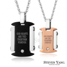 STEVEN YANG【KC898】西德鋼飾「愛情看板」情侶對鍊鋼項鍊 *單個價格* 情人節禮玫金