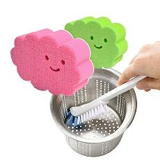 【特惠組】日本AISEN黏貼式雲朵浴室海綿刷+排水口直角清潔刷粉綠雲朵