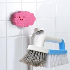 【特惠組】日本AISEN兩用磁磚清潔刷+黏貼式雲朵浴室海綿刷粉綠海綿刷