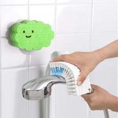 【特惠組】日本AISEN可彎曲刷面清潔刷 +黏貼式雲朵浴室海綿刷粉綠海綿刷