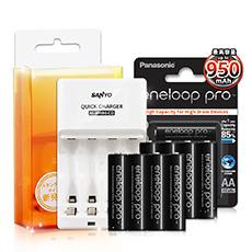 三洋智慧型充電器+Panasonic eneloop PRO 950mAh 低自放4號充電電池(黑鑽紙卡款-8顆入)★贈電池盒