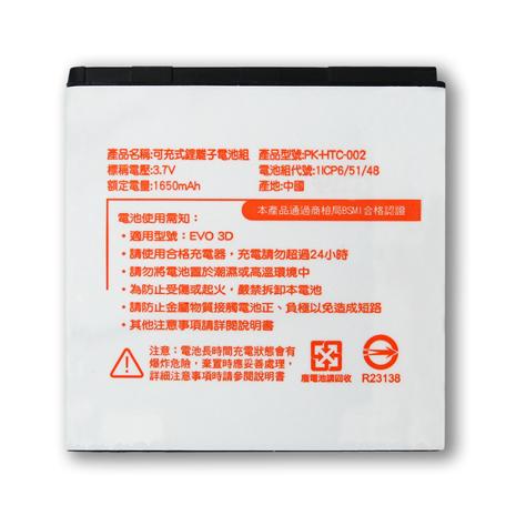 Koopin 宏達電 HTC EVO 3D / X515/Sensation XE 音浪機/Z715e 認證版高容量防爆鋰電池