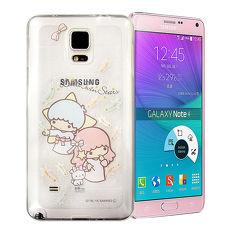 三麗鷗授權正版 雙子星仙子KiKiLaLa SAMSUNG Galaxy Note 4透明彩繪閃粉軟式手機殼(羽毛)