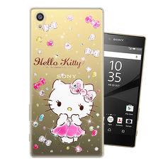 三麗鷗授權正版 Hello Kitty Sony Xperia Z5 水鑽系列透明軟式手機殼(蓬裙凱蒂)