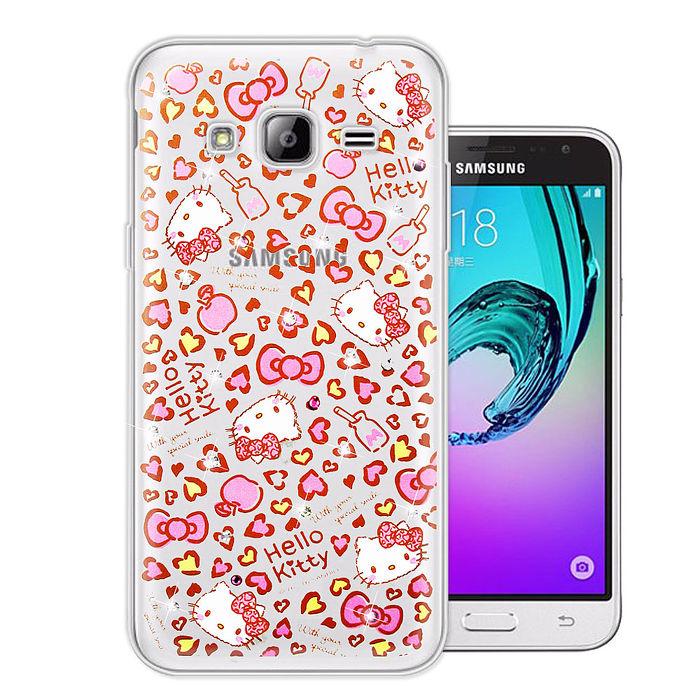 三麗鷗授權正版 Hello Kitty Samsung Galaxy J3 (2016) 水鑽系列透明軟式手機殼(豹紋凱蒂)