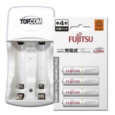 TOP智能雙迴充電器+Fujitsu低自放電4號750mAh充電電池 (4顆入)