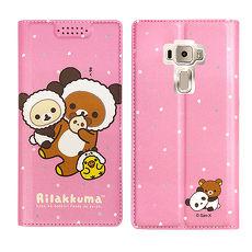 日本授權正版 拉拉熊/Rilakkuma ASUS ZenFone 3 5.2吋 ZE520KL金沙彩繪磁力皮套(熊貓粉)