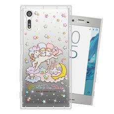 三麗鷗授權正版 雙子星仙子 KiKiLaLa SONY Xperia XZ 水鑽系列軟式手機殼(飛馬樂園)空壓氣墊款